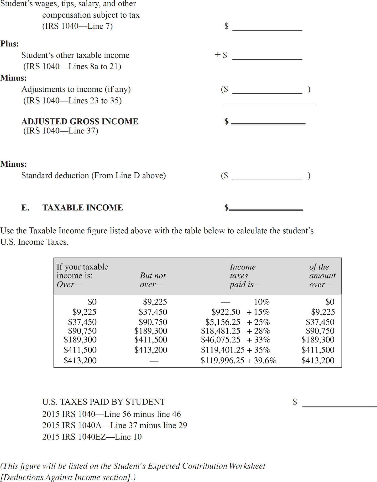 Worksheets and Forms Paying for College Without Going Broke – Deductions and Adjustments Worksheet