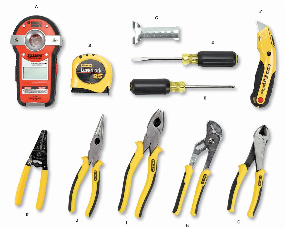 Hand tools you'll need for home wiring projects include: Stud finder/laser  level (A) for locating framing members and aligning electrical boxes; ...
