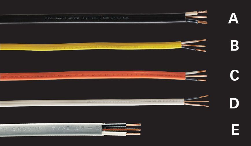 Wire cable conduit the complete guide to wiring black a black 6 or 8 awg conductors b yellow 12 awg conductors c orange 10 awg conductors d white 14 awg conductors greentooth Gallery
