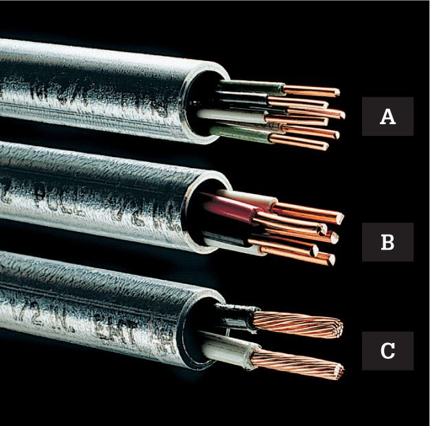 Wire cable conduit the complete guide to wiring black emt 12 in diameter can hold up to twelve 14 gauge or nine 12 gauge thhnthwn wires a five 10 gauge wires b or three 8 gauge wires c keyboard keysfo Image collections