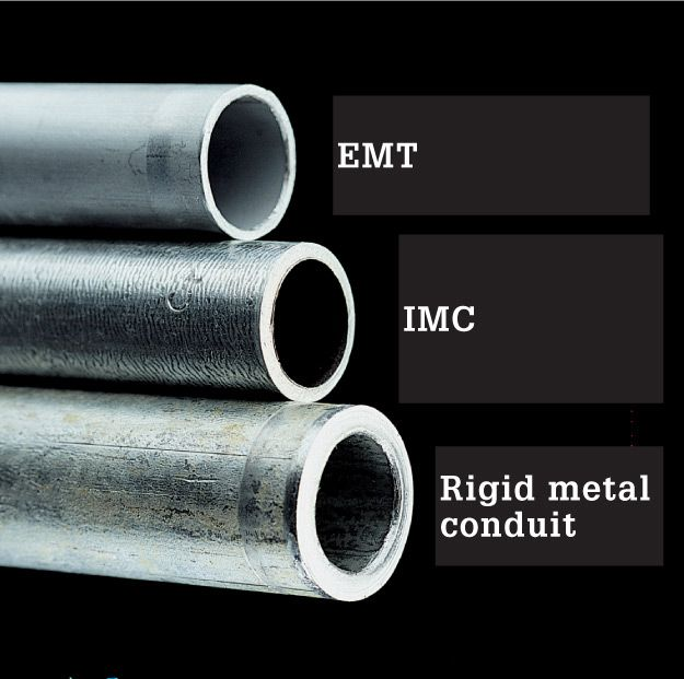 EMT Is Lightweight And Easy To Install IMC Has Thicker Galvanized Walls A Good Choice For Exposed Outdoor Use Rigid Metal Conduit Provides The