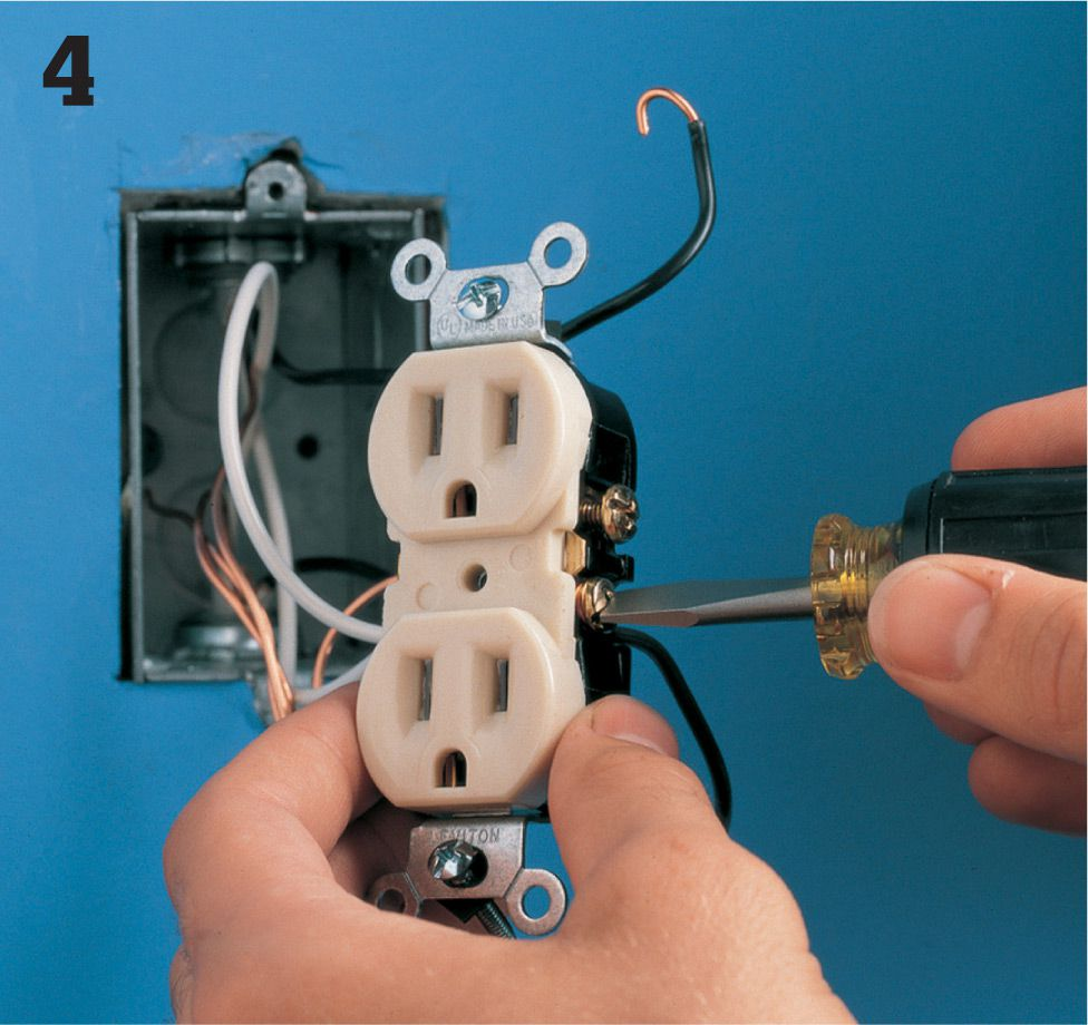 Receptacles The Complete Guide To Wiring Black Decker Cool Wires When Installing Electrical Wall Plug Outlets Disconnect All Hot Carefully Separate And Position Them So That Bare Ends Do Not Touch Anything Restore Power Circuit