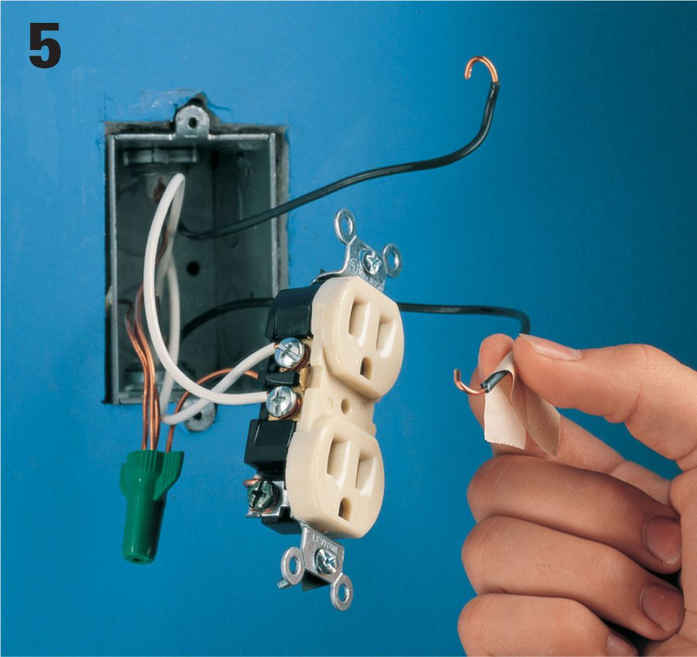 Receptacles The Complete Guide To Wiring Black Decker Cool Wire And Connecting Switch Panel Feed Should Be A When You Have Found Hot Turn Off Power At Identify By Marking It With Masking Tape