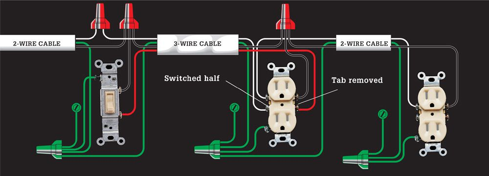End Of Run Switched Outlet Wiring Diagram. . Wiring Diagram Harness Hunter Wire K H on
