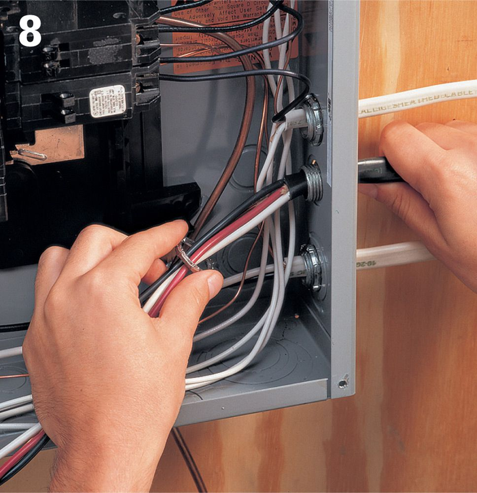 Common Wiring Projects The Complete Guide To Black Breaker Box Besides A New Circuit In Strip Away Outer Sheathing From Feeder Cable So That At Least 1 4 Of Will Reach Into Main Service Panel Attach Clamp