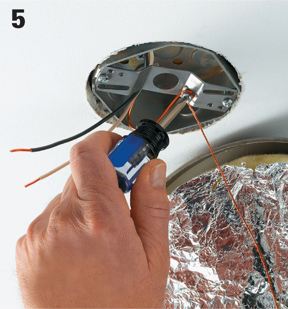 New Wiring Can Be Tied In At A Ceiling Light When The Light Is Not