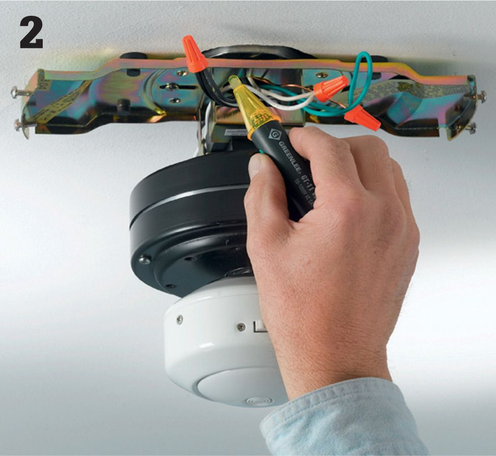 Repair Projects The Complete Guide To Wiring Black Decker Ceiling Fan White Blue Once Canopy Is Lowered Youll See Green Copper And Possibly Wires Hold A Voltage Sensor Within 1 2 Of These With Wall