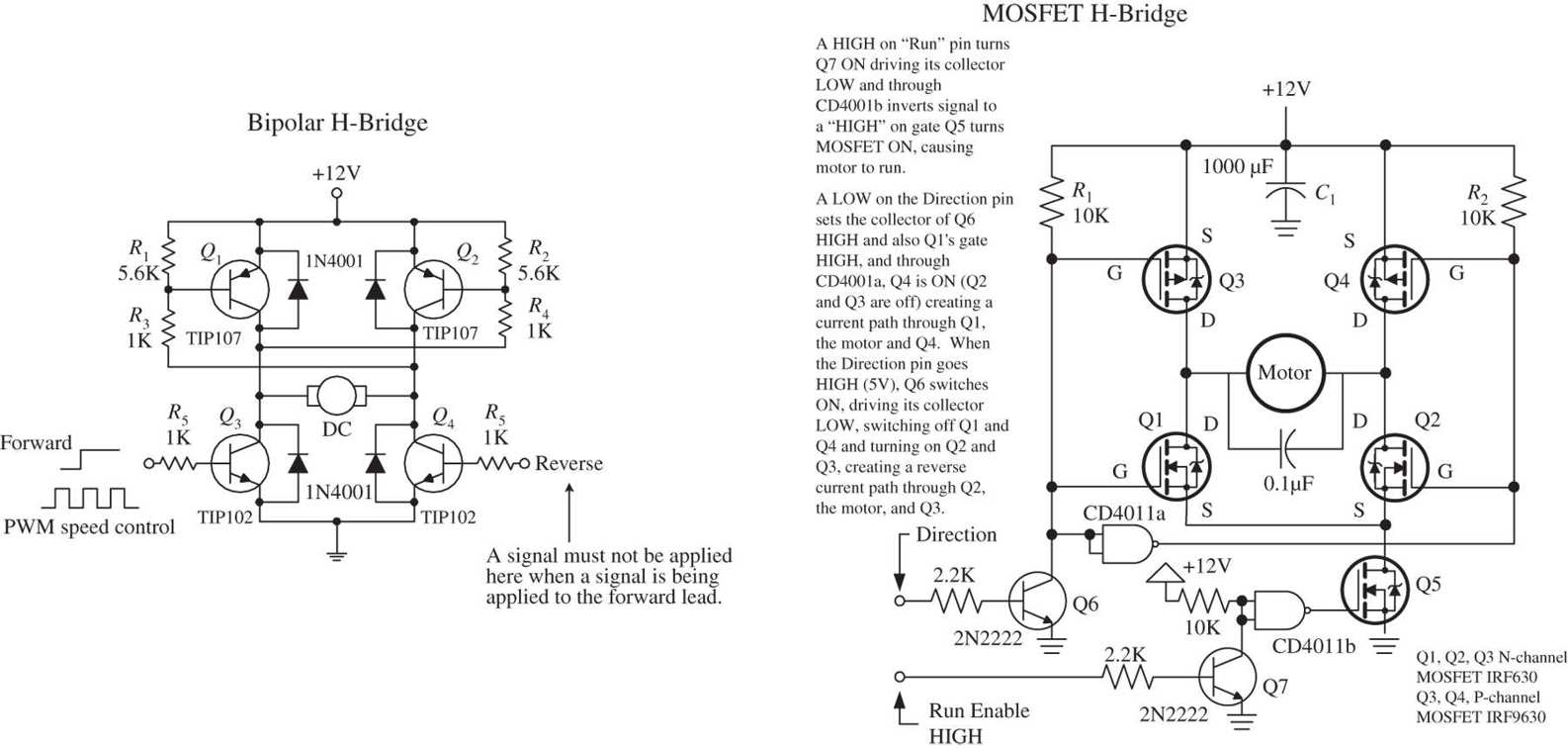 Motors Practical Electronics For Inventors Fourth Edition Paul Diagram Together With L298 H Bridge Circuit Pin On This Sets Q4 And Q1 Into Conduction Allowing Current To Pass Through The Motor In Opposite Direction Mosfet Works A Similar Manner