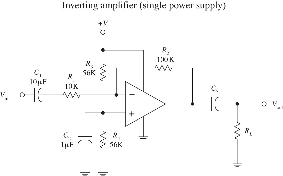 Audio Electronics Practical For Inventors Fourth Circuit Clipping Amplifier In The Single Power Supply Biasing Resistors R3 And R4 Are Needed To Prevent From During Negative Swings Input