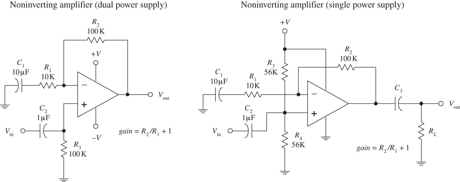 Audio Electronics Practical For Inventors Fourth Amp Circuit Is The Noninverting Amplifier A Figure 167 Components R1 C1 R2 And Biasing Resistors Serve Same Function As Was Seen In Inverting Circuits Input