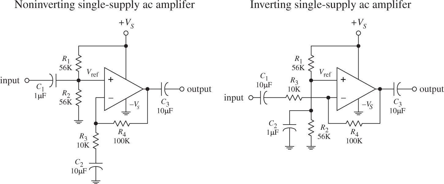 Operational Amplifiers Practical Electronics For Inventors Fourth Amp Circuit Is The Noninverting Amplifier A Two Circuits In Fig 824 Show And Inverting Ac Coupled Designed Audio That Use Conventional Op Amps Run Off Single