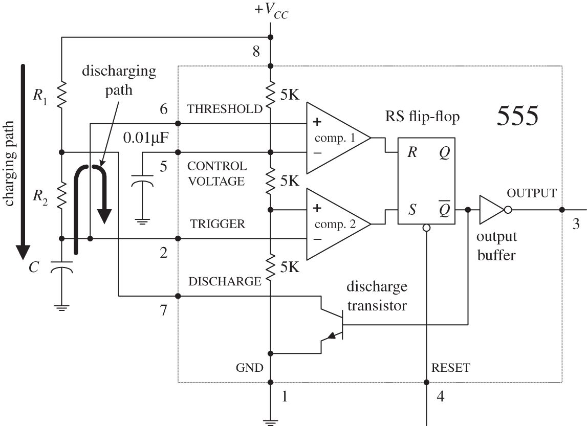 Oscillators And Timers Practical Electronics For Inventors Fourth In This Circuit Ne555 Ic Is Used As Astable Multivibrator Img
